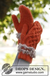 """Set consist of: Knitted DROPS mittens and head band with cables in """"Nepal"""" and crochet edges in """"Puddel"""" and knitted neck warmer in """"Puddel""""..."""