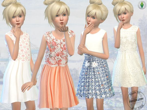 Elegant Embroidery and Lace Dresses by Fritzie.Lein at TSR via Sims 4 Updates