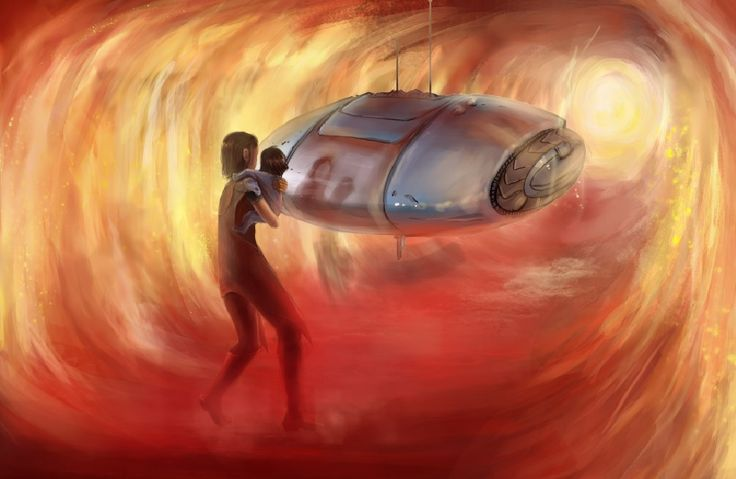 """#surfacerunners : """"Mabell and her baby in the Tunnel of Fire"""" In Act II of the ebook, Mabell and her baby Nobel run away from chaos through a Tunnel of Fire and meet the Dark Oval Drone."""