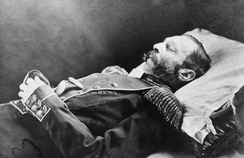"""Tsar Alexander II (1818–1881) known as """"The Liberator"""" lying in state. He was mortally wounded by an assassination attack in St Petersburg. March 1881."""