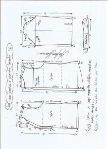 Блуза схема моделирования с открытием и средним воротником размер 56.