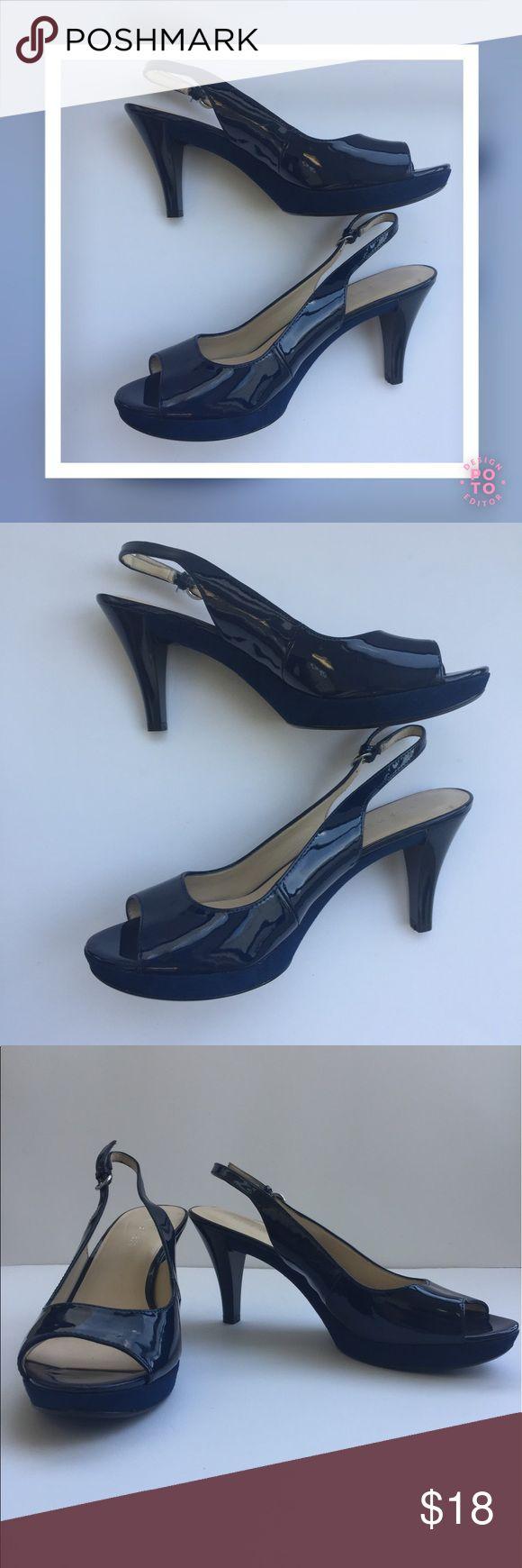 """Selling this NINE WEST """"Karoo"""" Blue Patent Slingback Sandals on Poshmark! My username is: amore923. #shopmycloset #poshmark #fashion #shopping #style #forsale #Nine West #Shoes"""