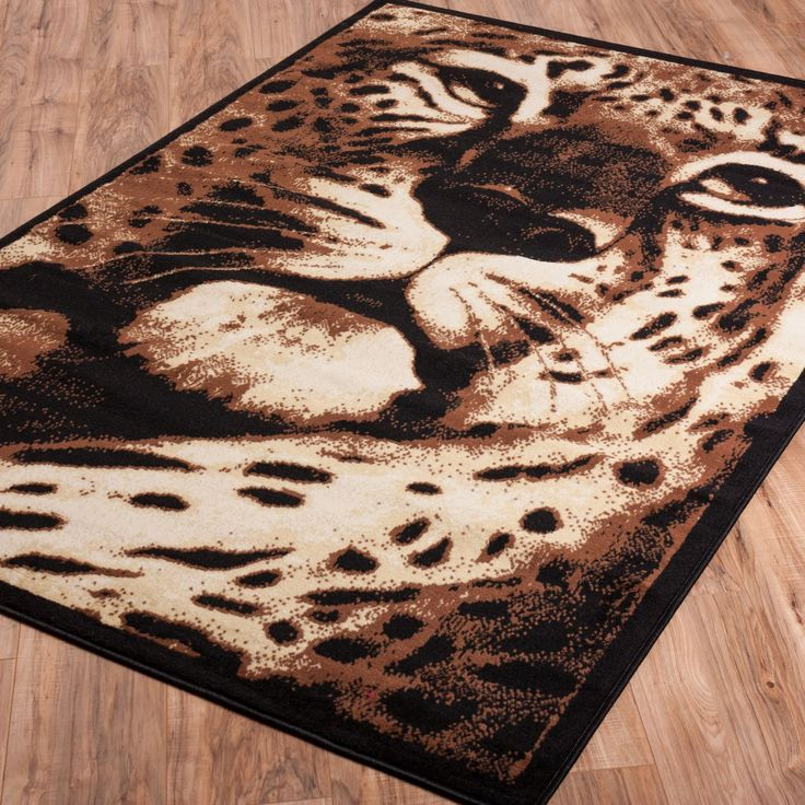 Zebra Rug Jungle Jest Leopard Black Casual Animal Area Rug