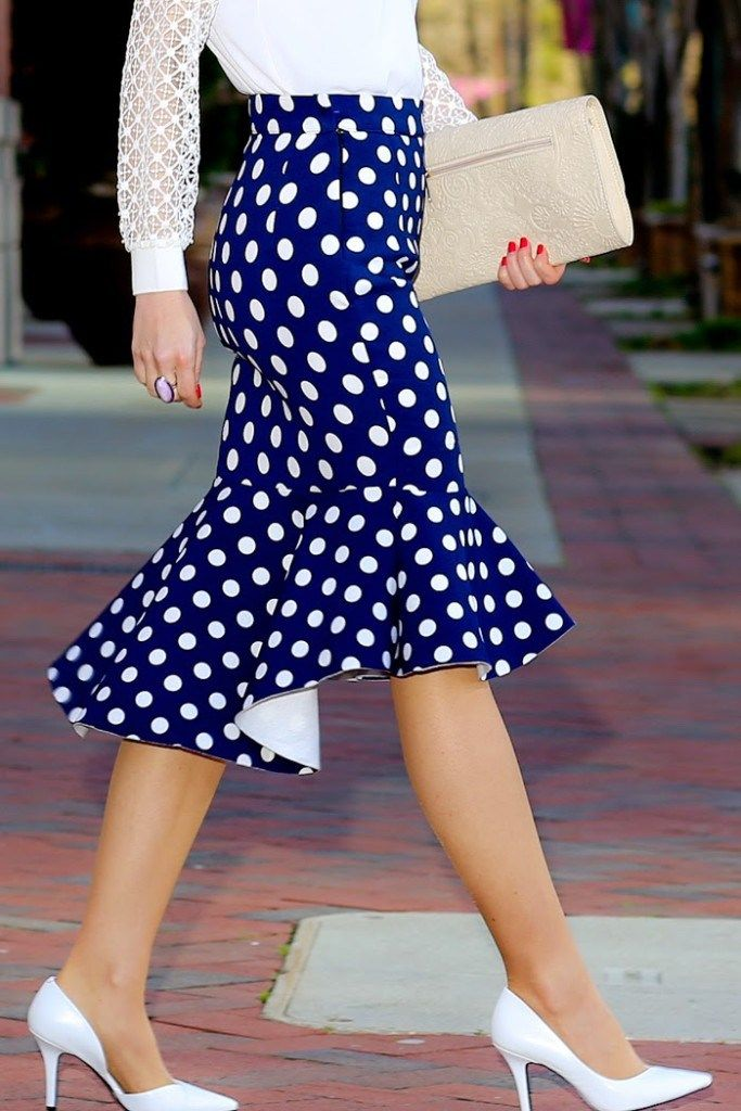 when polka dots marry peplum hem | loft blouse, choies skirt, nine west pumps, http://redreticule.com