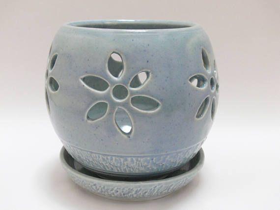 Blue orchid pot ceramic orchid pot  porcelain orchid pot