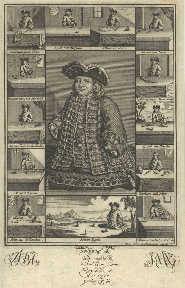 Matthias Buchinger (1674-1740) and his abilities in 13 vignettes