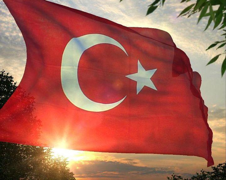 gün batarken türk bayrağı