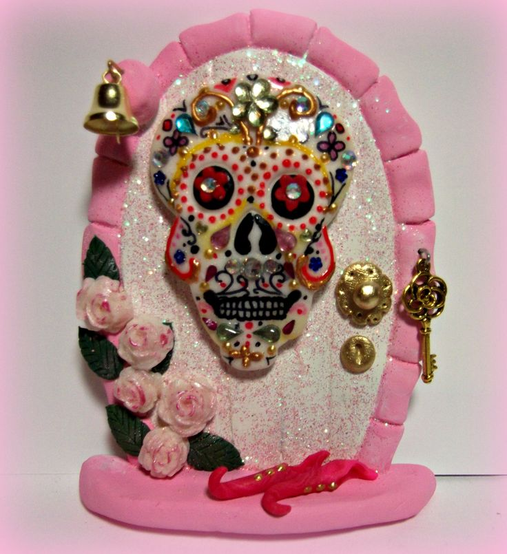 Sugar skull fairy door invite a little magic into your for Fairy doors for sale