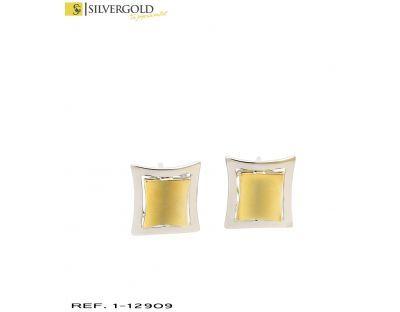 1-1-12909-2-Pareja de pendintes cuadrados combinados en oro blanco