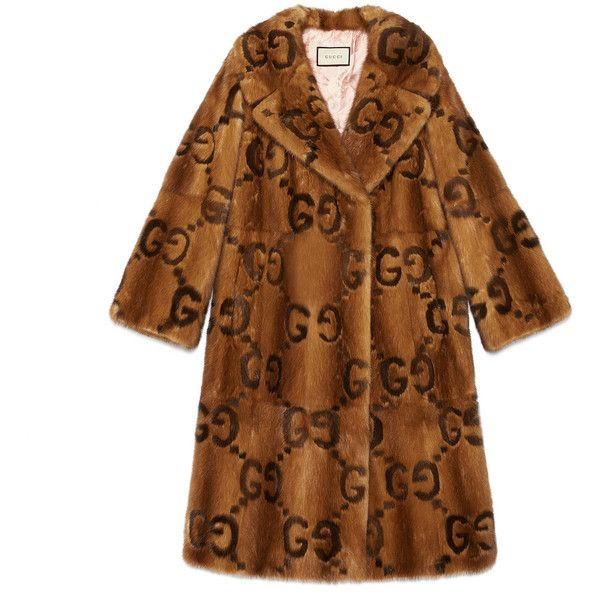 Gucci Mink Gg Intarsia Coat ($53,435) ❤ liked on Polyvore featuring outerwear, coats, fur, jackets, coats & furs, mink, ready-to-wear, women, brown coat and mink fur coat