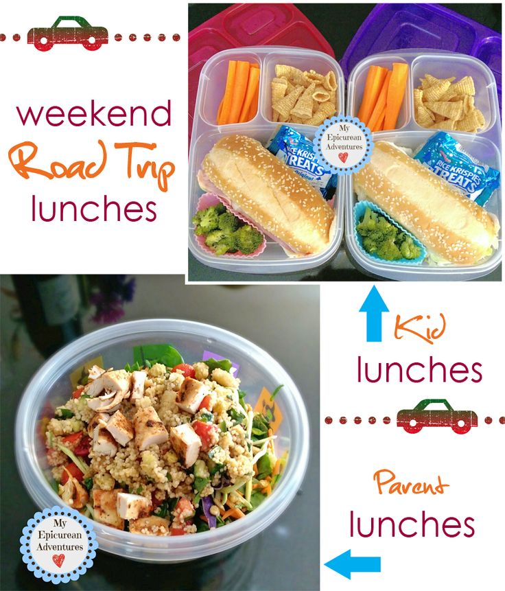 Rest stop lunches for a weekend road trip.