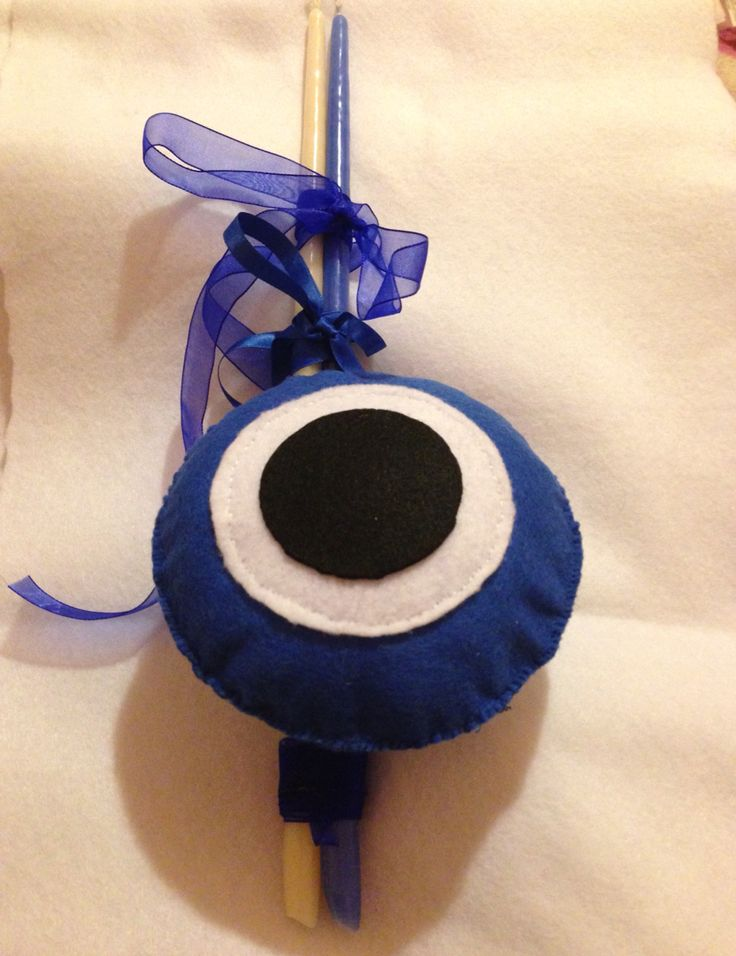 Evil eye Easter candle