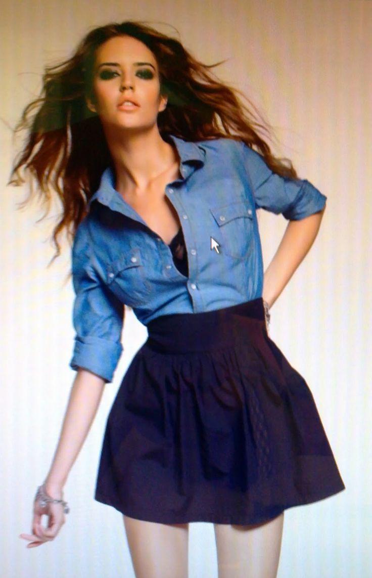 falda y camisa de mezclilla