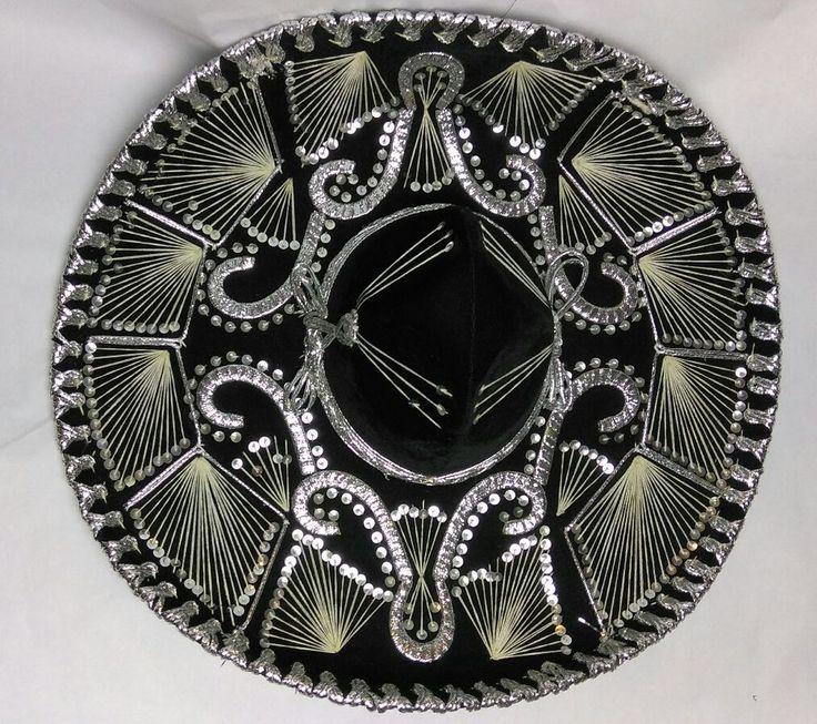 Belri SOMBRERO Mexican Mariachi Hat Hand Made in Mexico Black Silver Theater #Belri