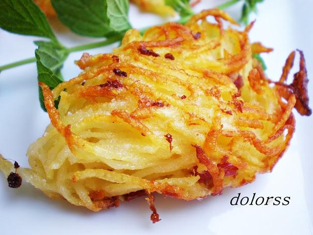 Una guarnición un poco diferente: ovillos de patata y jamón