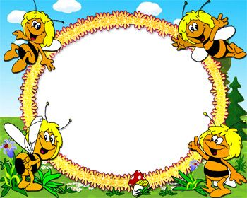 Honey Bee Picture Frame : 4 happy honey bees around the picture frame, making a an attractive look of the photo frame, this frame can be also useful