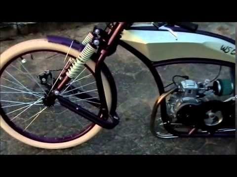 Bicicleta motorizada 4 tempos WS Cruiser - YouTube