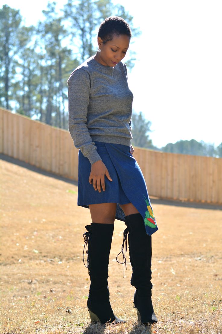 thrift style fashion, skirt refashion, thrift store fashion, thrifting blogs, J. Crew sweater sweatshirt worn with thrift store 80s skirt refashioned into asymmetrical skirt, embroidered patches on skirt, thrift store clothes