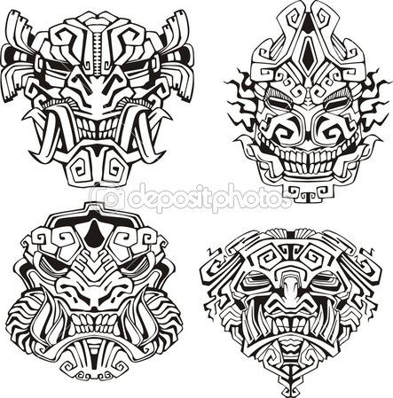 Aztec monster totem masks by rorius - Stock Vector