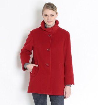 CINZIA ROCCA Caban collo alto misto lana cashmere rosso