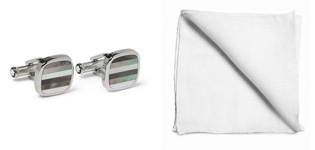 Do not forget the cufflinks made from precious ore (silver, gold, platinum). (ph. cufflinks montblanc.com, pochette szarmant.pl )