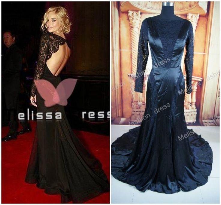 Красная ковровая дорожка длинное кружевное черное платье
