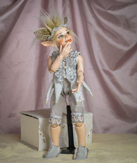 Beautiful porcelain doll boy in silver costume, ooak doll. Handmade by LegendLand Dolls