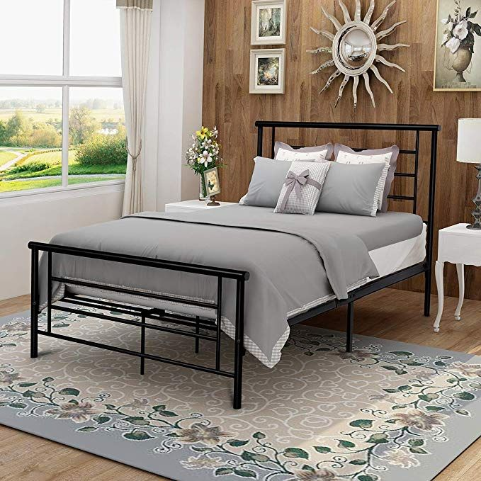 Modern Style Platform Metal Bed Frame Foundation Headboard