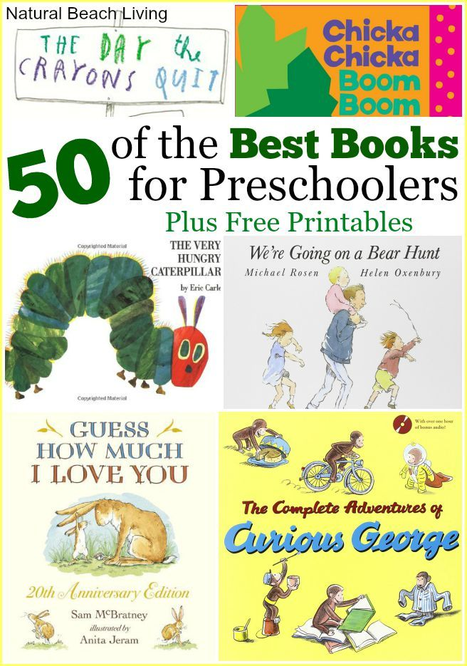 This is an amazing list of the best books ever written for preschoolers. 50 fun-filled books for preschoolers PLUS adorable FREE reading logs printables.