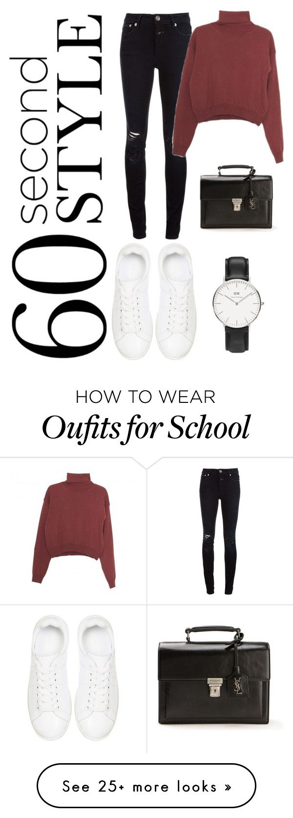 """Untitled #288"" by lacywoods on Polyvore featuring Closed, Wood Wood, Anine Bing, Yves Saint Laurent and Daniel Wellington"