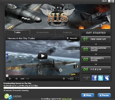 Heroes In the Sky.  A free 3rd person Air Combat Sim.