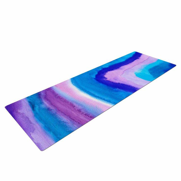 "Viviana Gonzalez ""Agate Inspired Watercolor Abstract"" Blue Purple Watercolor Yoga Mat - KESS InHouse  - 1"