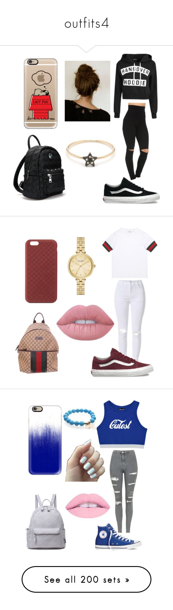 """outfits4"" by jeni-tomaskova ❤ liked on Polyvore featuring Vans, Casetify, Gucci, Kate Spade, Lime Crime, Topshop, Converse, Sans Souci, Majestic and Moschino"