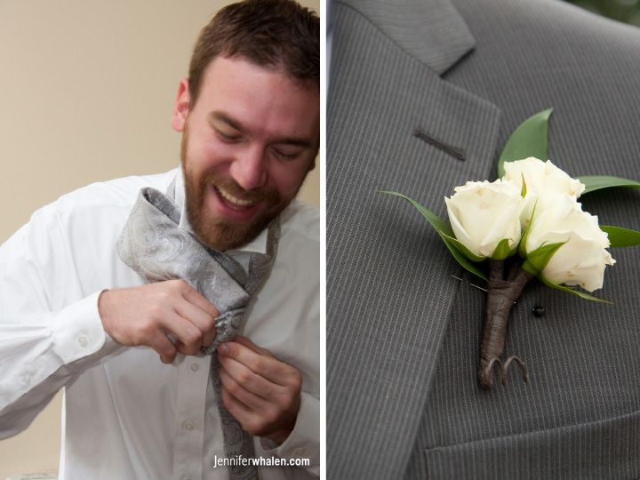 Groom & Groomsmen boutonnieres - white spray roses (maybe add a little dusty miller?)