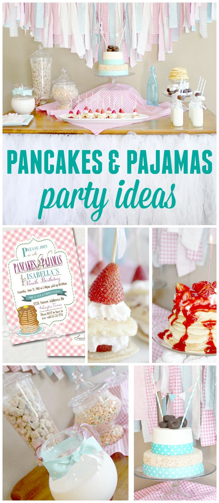 A slumber party for a girl birthday with a pancake and pajamas theme and fun breakfast treats! See more party planning ideas at CatchMyParty.com!