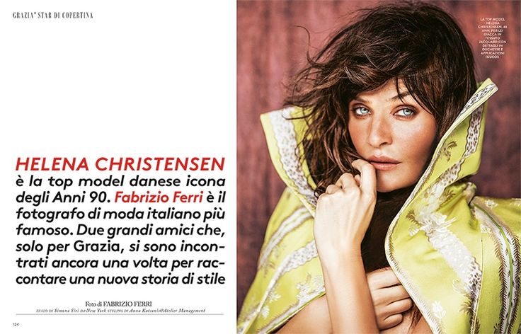 Supermodel Helena Christensen poses in Gucci jacquard jacket