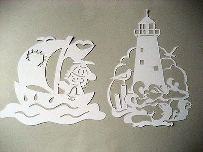 """Fensterbild filigran Tonkarton  """" Schiff und Leuchtturm """" 2 Stück"""