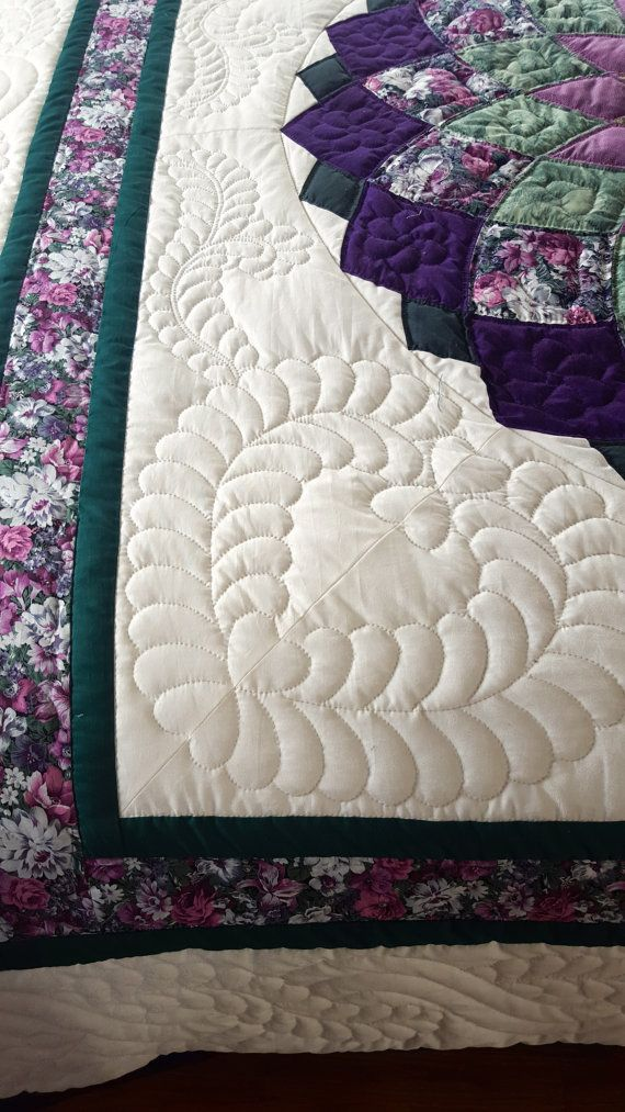 Giant Dahlia Pattern Amish QUilt by QuiltsByAmishSpirit on Etsy
