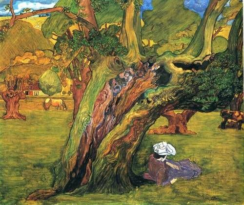 Herfstlandschap in Surrey, England, Jan Toorop. Dutch Symbolist Painter (1858 - 1928)