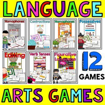 Language Arts Games: Grammar Games: Language Arts Centers: 4th Grade, 3rd, 5th