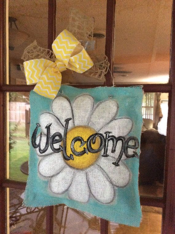 Painted+burlap+daisy+welcome+door+hanger+by+NicoleJordandesigns