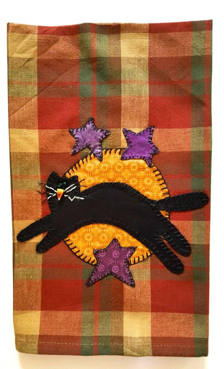 Halloween Kitchen Towel, Cat Kitchen Towel, Halloween Applique Tea Towel, Fall Kitchen Towel, Fall Applique Tea Towel, Halloween Applique by RkyMtnCrafts on Etsy