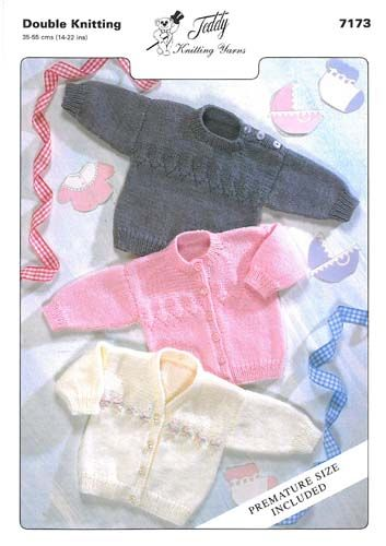 """FREE newborn knitting patterns, all kinds of items. This sweater has a """"preemie"""" size, too!"""