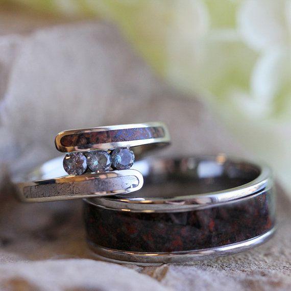 Unique Bridal Set with Meteorite and Dinosaur Bone, Alexandrite Engagement Ring, Dinosaur Bone Wedding Band