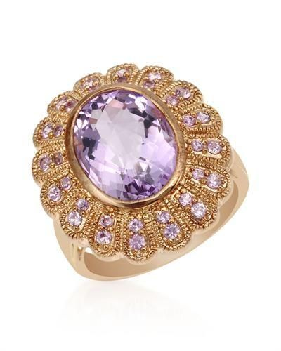 Ring with Amethyst & Sapphires-Size5.5   Pleasant cocktail ring with genuine amethyst and sapphires beautifully crafted in 14K gold plated 925 silver. Total item weight 8.3g. Gemstone info: 1 amethyst, 6.32ctw., checkerboard shape and purple color, 32 sapphires, 0.58ctw., round shape and pink color.