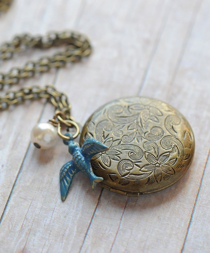 locket necklace blue bird locket bridesmaid jewelry