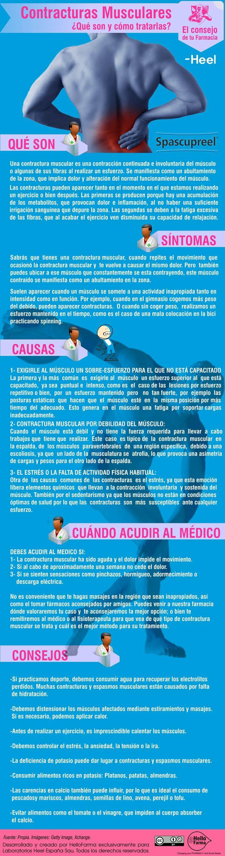 Contracturas musculares. ¿Qué son y cómo tratarlas? #contracturas #infografía #infographic
