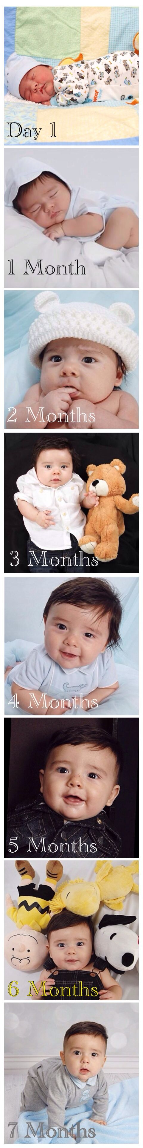Baby growth 1 day old 1 month old 2 months old 3 months old 4 months old 5 months old 6 months old 7 month old photo ideas cute baby picture. Baby photo ideas.