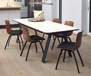 Corian, oil-burnt steel legged, solid hardwood trimmed Danish table