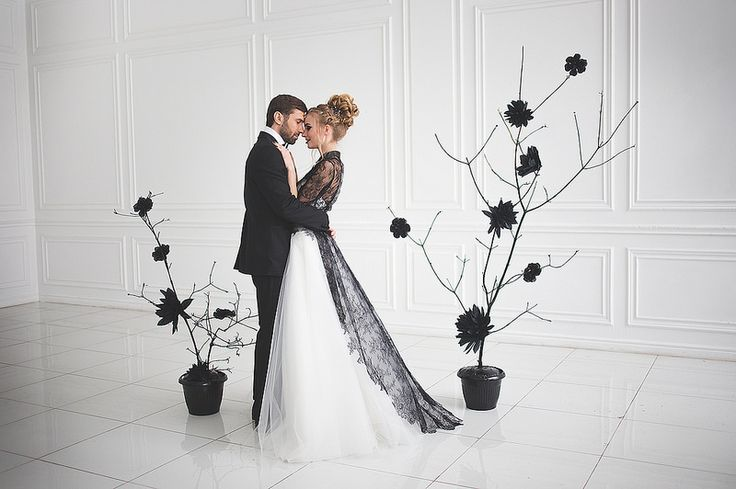 Black and white wedding dress for A Magic Black Wedding Inspiration